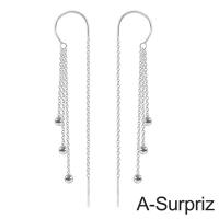 A-Surpriz sided wear bead pure C-925 Silver linear tassel earrings (silver)