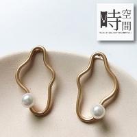 """(時空間)""""Time and Space"""" Love's Waves Unique Irregular Matte Pearl Earrings-Single Style"""