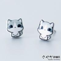 (sayaka)[Sayaka Sayaka] Fresh and Cute Big Eyes Cat Earrings in Sterling Silver-Single Color