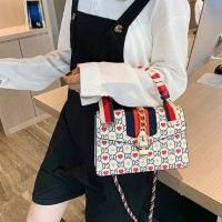 (GIFT)GIFT-large white-Korean version of GD ladies diagonal cross portable navy bag