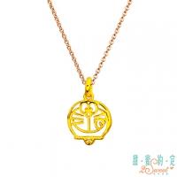 (Doraemon)Sweet appointment Doraemon delicious delicious Doraemon gold pendant to send rose steel necklace