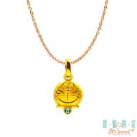 (Doraemon)Sweet appointment Doraemon bit by heart, A dream gold pendant, send rose steel necklace