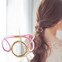 (charme)Charme Korea imported simple circle pendant crystal hair ring D01
