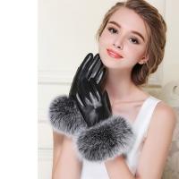 (ego life)[ego life] lambskin big fox fur mouth full palm touch warm female gloves