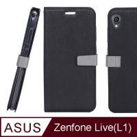 (CASE SHOP)CASE SHOP ASUS ZenFone Live L1 (ZA550KL) Special Woodgrain Side Stand Leather Case - Black