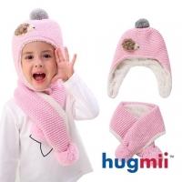(hugmii)[Hugmii] children's monochromatic hooks flower shape thick scarf hat group _ pink hedgehog