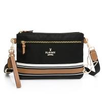 (playboy)PLAYBOY- Crossbody Bag with Handle Belt Textured Player 3.0 Series-Black