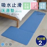 (abuns)Short-hair kitchen mat/bedside mat (large + small combination purchase-blue 2 sets)