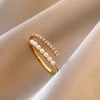 (charme)Charme Korean popular low-key luxury rhinestone imitation bead line shape open ring
