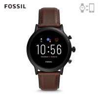 【FOSSIL】GEN 5 智能錶 卡萊爾 HR-深咖皮革手錶 44MM FTW4026