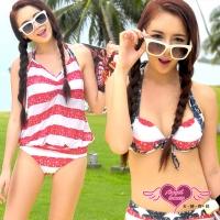 (angel)Swimsuit evening star four-piece bikini (blue and red M~XL) AngelHoney