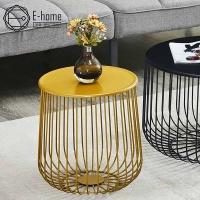 E-home Myrna蜜爾娜時尚線紋小圓几-黃色