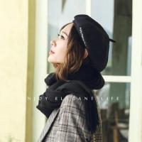 (THANTRUR)【THANTRUR】European style, fashion and art style, all-match sweet beret painter hat-black