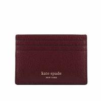 (katespade)KATE SPADE Plain Lychee Leather Card Holder (Burgundy) WLRU6277 610