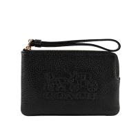 (coach)COACH Lychee Leather Carriage Pattern L-Zip Clutch (Black) 3580 IMBLK