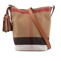 (burberry)BURBERRY Check Cotton and Linen Blend Crossbody Bucket Bag (Camel/Caramel) 39829331