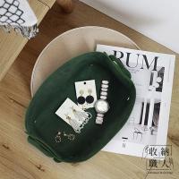 【收納職人】北歐簡約皮革桌面收納盒/帶提手收納籃/整理筐_墨綠色