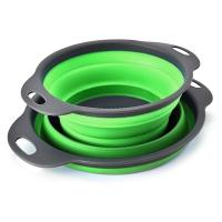 (Rinato)Green small folding vegetable washing basket (8.5*18.5cm)