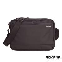 (AOKANA)AOKANA MIT Taiwan made YKK zipper simple water-repellent multi-compartment side backpack oblique shoulder bag bag (black) 02-015