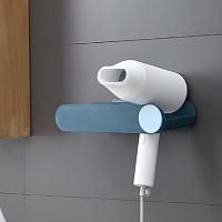 Wall-mounted hair dryer rack (blue) / no trace free punching / hook wire storage / hair dryer rack / bathroom drain storage rack / waterproof transpar