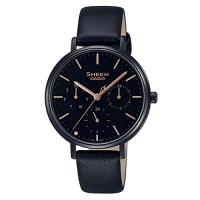 (casio)[CASIO] SHEEN pure simplicity multiple three-eye sapphire mirror black ion watch (SHE-4541BL-1A) black X gold hands