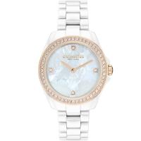 COACH 茶花款奢華晶鑽陶瓷腕錶/白/32mm/CO14503662