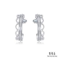 點睛品 Daily Luxe 優雅皇冠 鉑金鑽石耳環