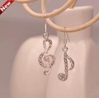 S925 Asymmetry music symbols earrings