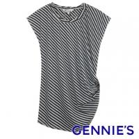 Gennies Qini Faravani Series - Butterfly whims side stripes inlaid Top - green bars (C3338)