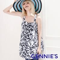 (Gennies)Gennies Chini Fresh Flower Print Chiffon Top - Black (G3323)