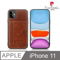 (皮爾卡登)French Pierre Cardin iPhone 11 Classic Card Pocket TPU Leather Phone Case Brown