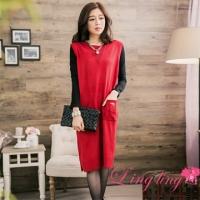lingling large size A2742-02 damaged the goodwill wild plain sense of knitting wool sleeveless vest pocket dress (elegant red)