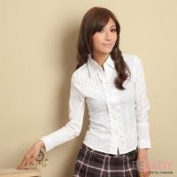 【EE-LADY】 striped lotus leaf long-sleeved shirt (white)
