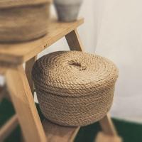 (收納職人)[Reservation staff] Japanese jute woven round cap storage basket (large)