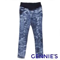 (gennies)Gennies Qini Washed Pattern Brushed Color Scratched Denim Leggings-Black/Blue (G4119)
