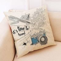Creative camera pattern hug pillowcase (blue camera)