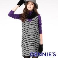 Gennies Qini corrugated totem V-neck sleeveless dress (black ash C2604)