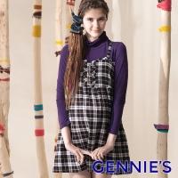 Gennies Qini sweet plaid shirt with spaghetti straps Long (Blue G3406)