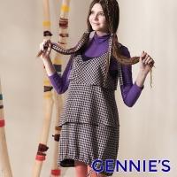 Gennies Qini one thousand Bird level cake sleeveless dress (purple G2409)