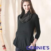 Gennies Qini temperament dot scarves shirt (black G3407)