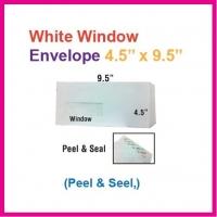 "4.5"" x 9.5"" White Envelope with window / Sampul Surat Putih 4.5 x 9.5 Inch / 114 x 241mm (Peel & Seal) 10pcs/pkt"