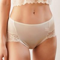 (chlansilk)Quelan silk French cotton candy lace 100% silk seamless pants (skin)-88910