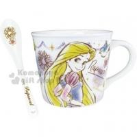 〔小禮堂〕長髮公主 陶瓷馬克杯湯匙組《紫白.汽球》咖啡杯.茶杯