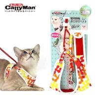 (CattyMan)CattyMan Clover Chest Back Leash Set S-Orange