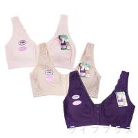 (一品川流)Large size front button elegant lace without steel ring corset-2914-purple