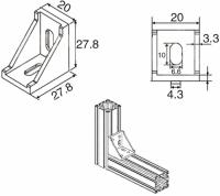 Aluminum 2020 L type Corner Bracket Fittings Corner Angle Bracket Connector 2028 Aluminium Profile
