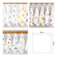 Baby cotton square towel handkerchief 1pcs [6 layer] (pattern / plain )