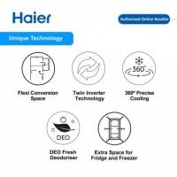 Haier HRF-IG388BM 350L 2 Door Glass Refrigerator Fridge Peti Sejuk with Twin Inverter Technology