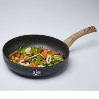 Shefu 28cm Non-stick Aluminium Deep Frying Pan Marble Stone Wok