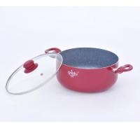 Shefu 24cm Non-stick Aluminium Casserole Pot with Tempered Glass Lid Double Handle Ceramic Marble Coating Wok
